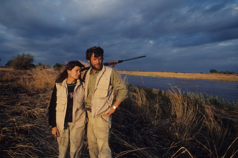 Mark and Delia Owens in North Luangwa National Park in Zambia in 1990.