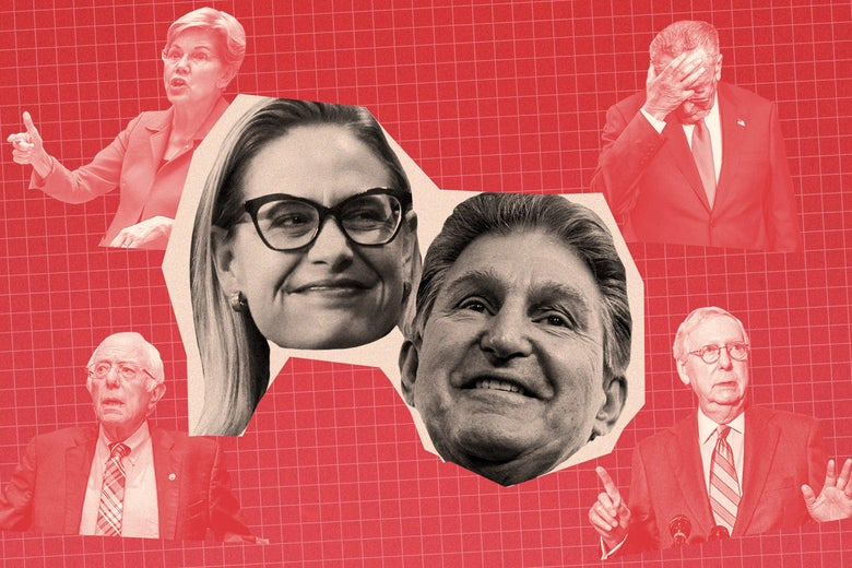 Sen. Kyrsten Sinema and Sen. Joe Manchin smiling surrounded by smaller cut outs of disappointed and angry senators.
