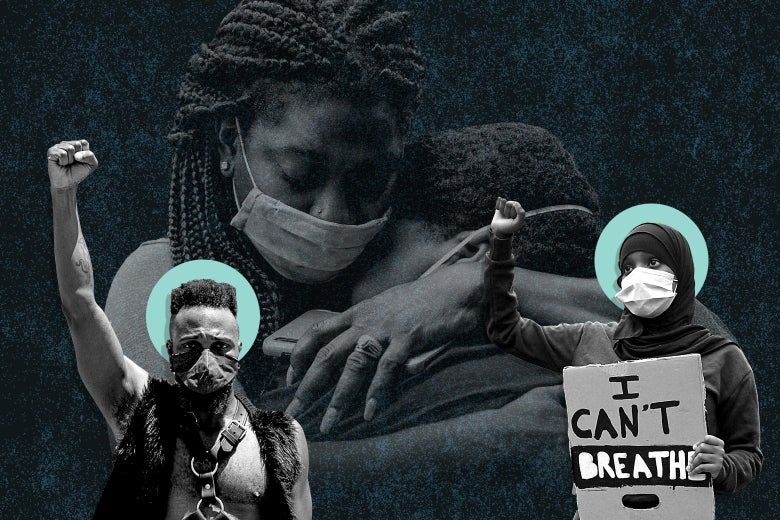 Photo collage of masked Black protesters and two Black women hugging in the background