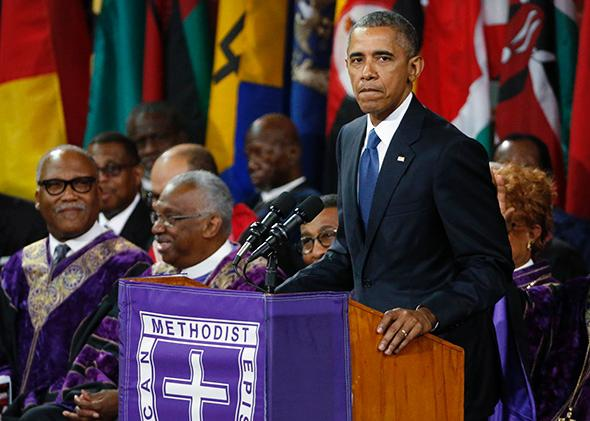 President Barack Obama delivers a eulogy in honor of the Rev. Clementa Pinckney during funeral services in Charleston, South Carolina, on June 26, 2015.