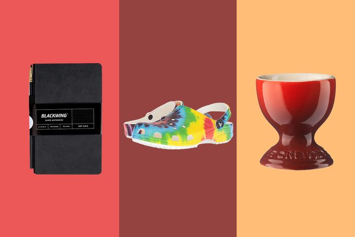 A collage of a Slate notebook, rainbow Croc, and Le Creuset egg cup.
