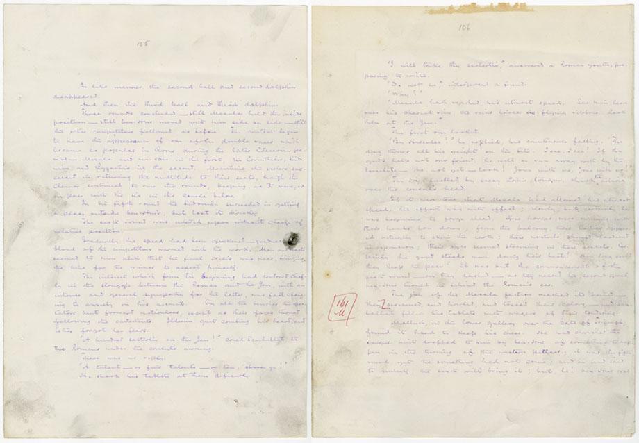 Wallace's handwritten Ben-Hur manuscript.