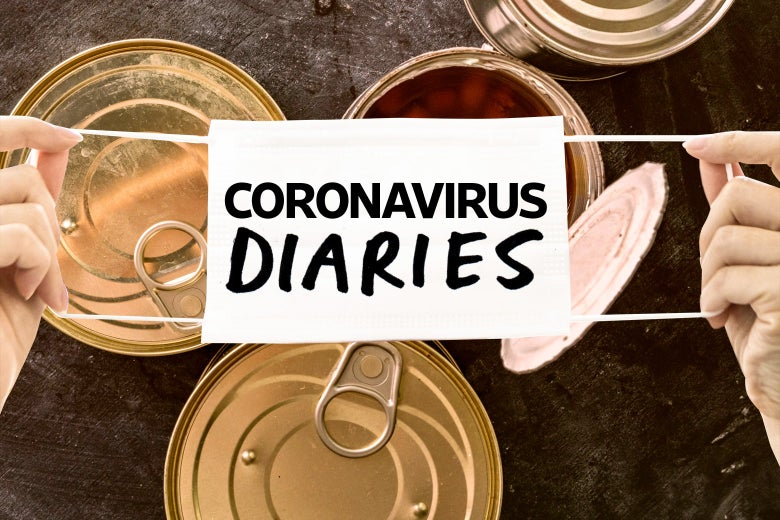 "Two hands holding a medical mask over an image of cans of food. In the center of the mask, the words ""Coronavirus Diaries."""