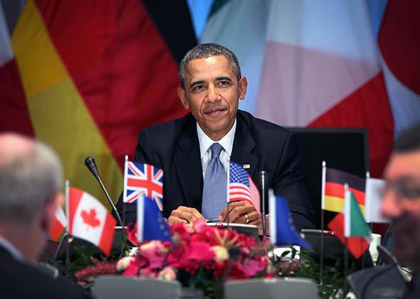 President Obama hosts a meeting of G7 leaders on March 24, 2014 in The Hague, Netherlands.