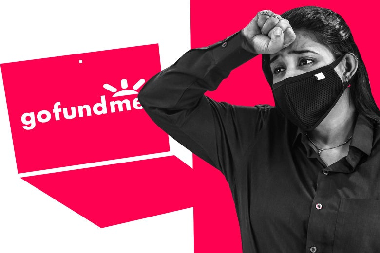 A GoFundMe logo on a laptop and a woman wearing a mask looking distressed