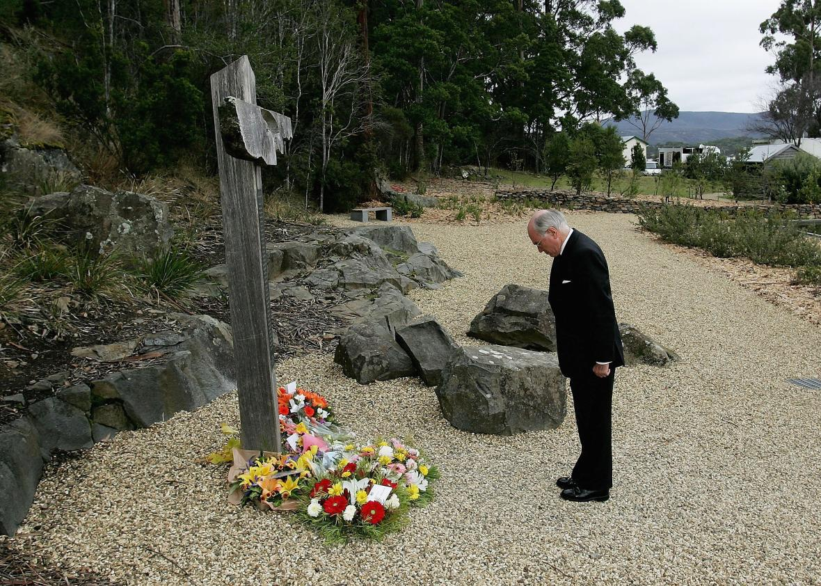 John Howard at the scene of the Port Arthur massacre