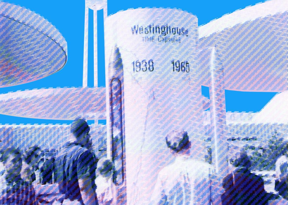 Westinghouse exhibit at the 1965 New York World's fair Photo illustration by Natalie Matthews-Ramo. Photos by Austin Hall/Wikipedia.