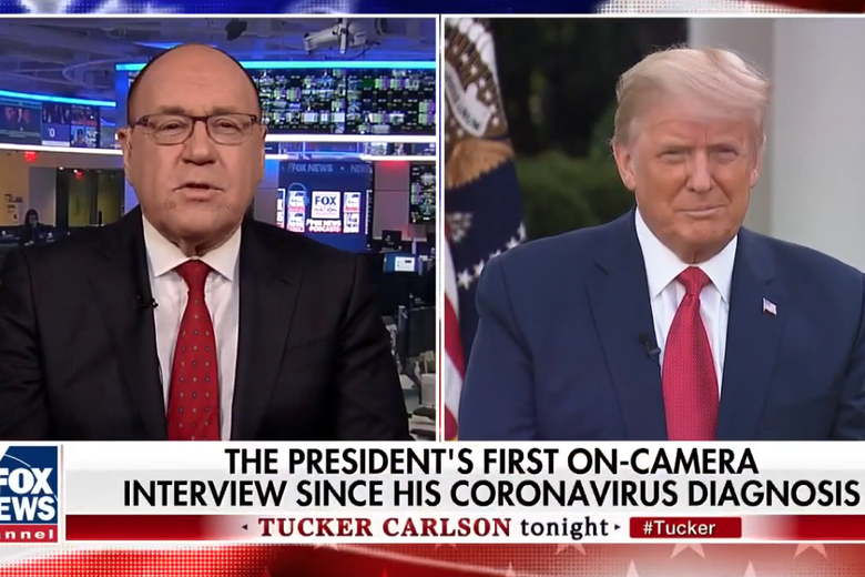 Fox News medical contributor Dr. Marc Siegel interviews President Donald Trump remotely in a pre-recorded interview that aired on Fox News Oct. 9, 2020.