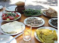 A typical Georgian meal. Click image to expand.
