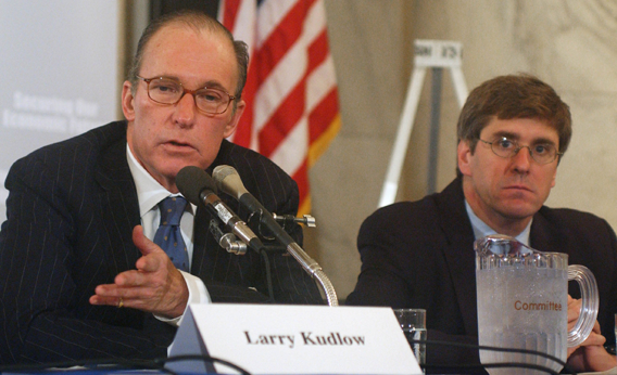 Larry Kudlow of CNBC, and Stephen Moore, of Club for Growth, during the democratic forum on the economy.