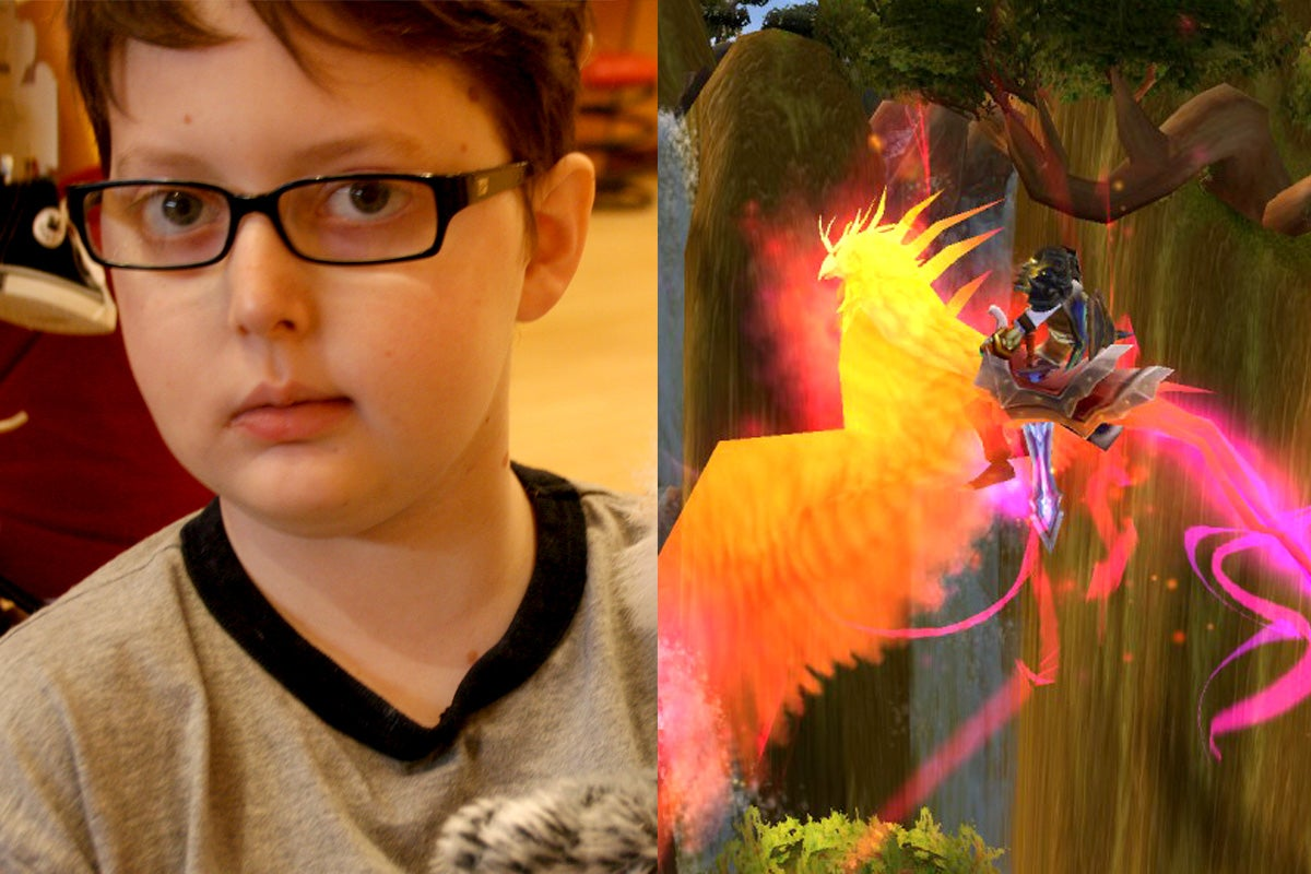 Side by side photos of Ezra Chatterton and his player character atop the phoenix mount in World of Warcraft.