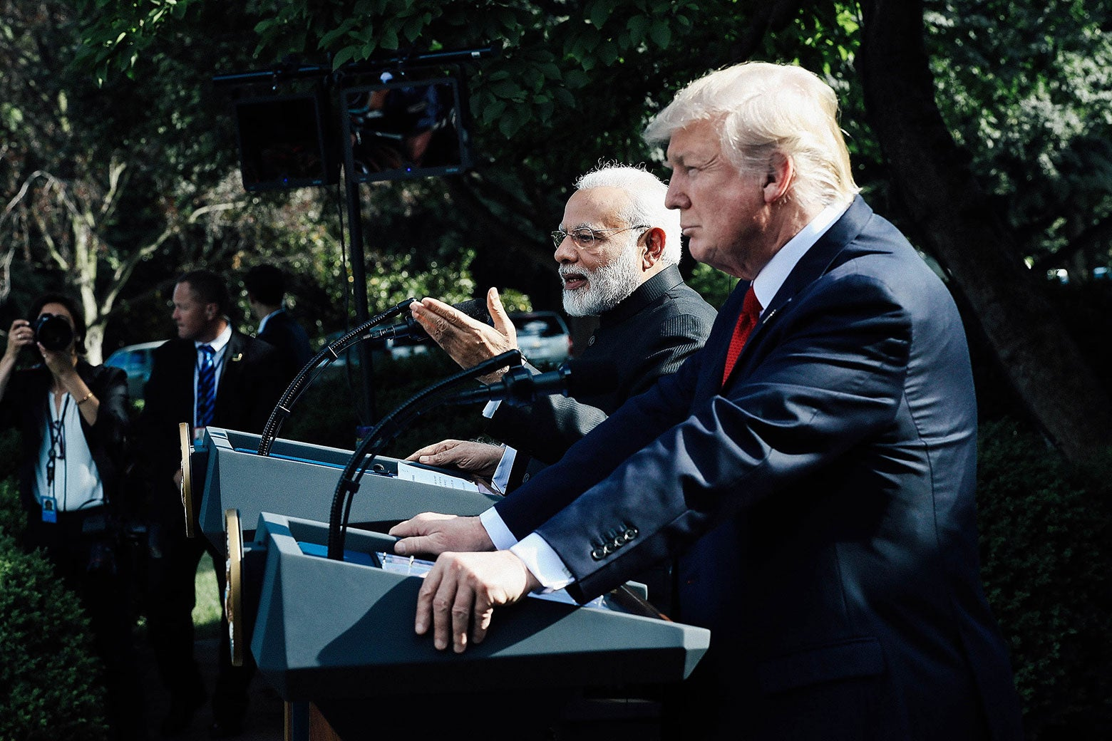 Indian Prime Minister Narendra Modi and U.S. President Donald Trump deliver joint statements at the White House on June 26, 2017.