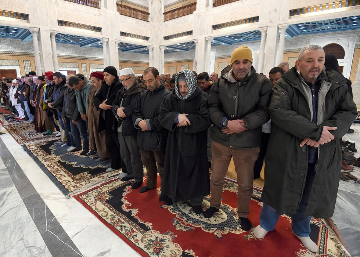 Tunisian Muslims pray for rain at a mosque in the capital Tunis, Jan. 17, 2016