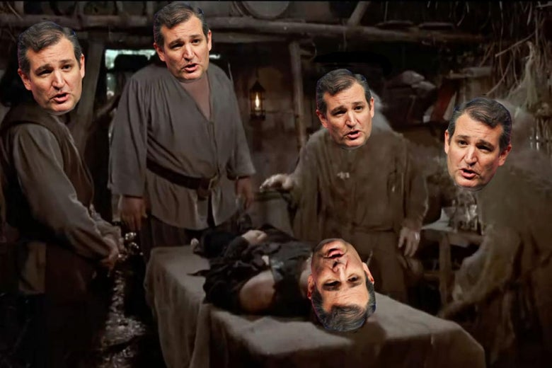 Photo illustration: A scene from The Princess Bride but Ted Cruz's head is on every character.