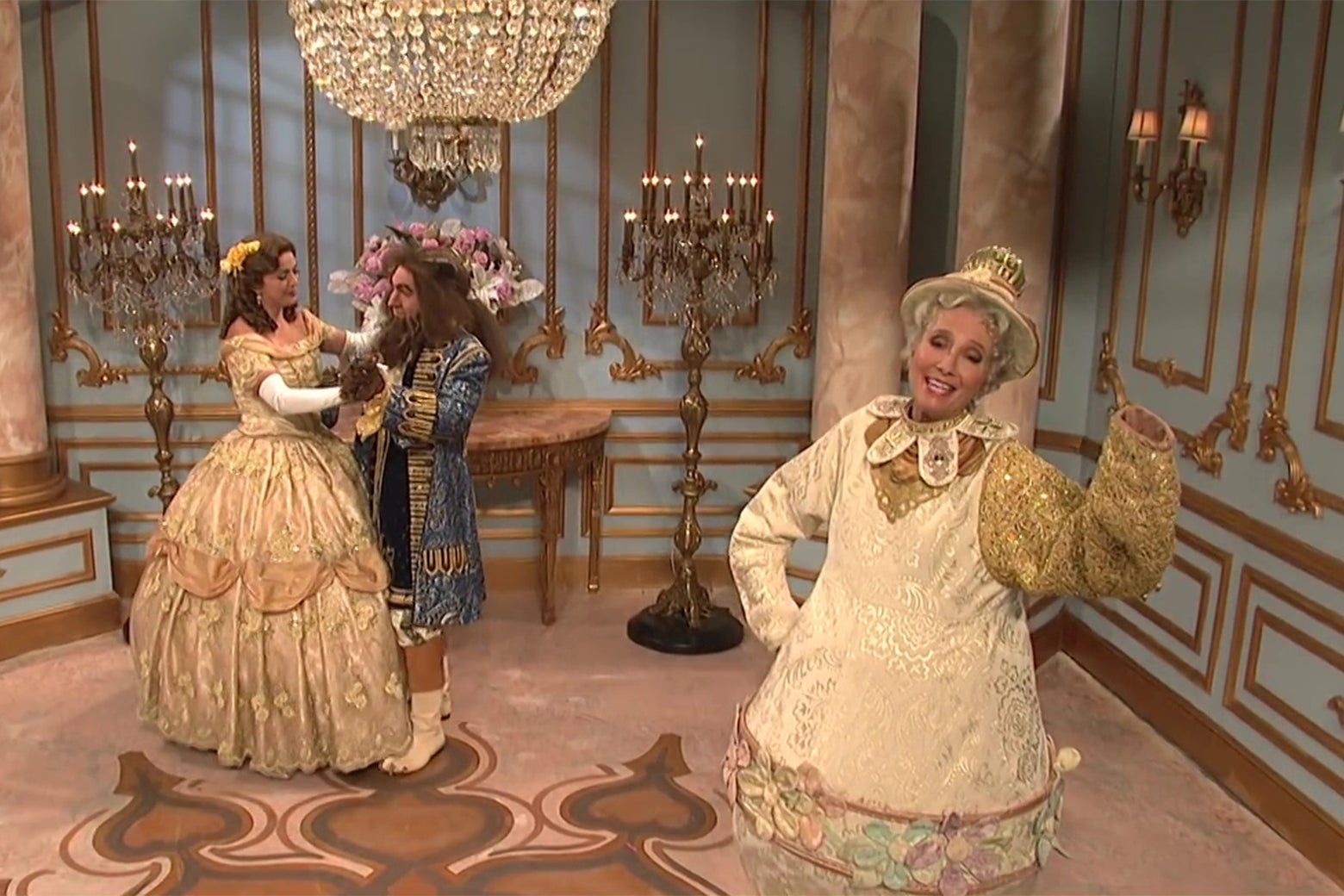 Cecily Strong, Beck Bennett, and Emma Thompson recreate a scene from Beauty and the Beast.