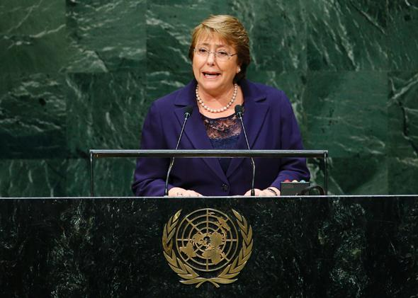 Chilean President Michelle Bachelet addresses the  United Nations General Assembly in New York, on Sept. 24, 2014