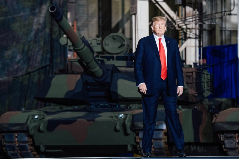 President Donald Trump arrives to speak after touring the Lima Army Tank Plant in Ohio on March 20.