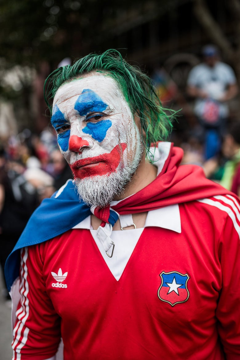 Protester in Chile dressed as Joker