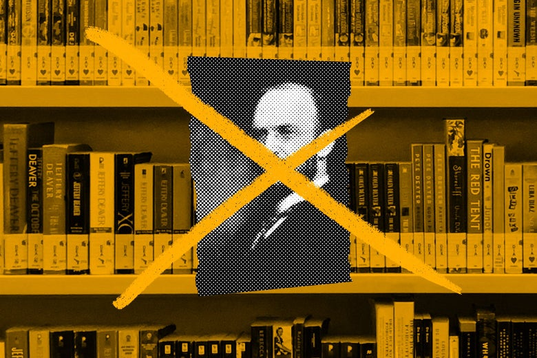 Photo illustration of a Melvil Dewey portrait on a shelf of library books. There is an X through the portrait.