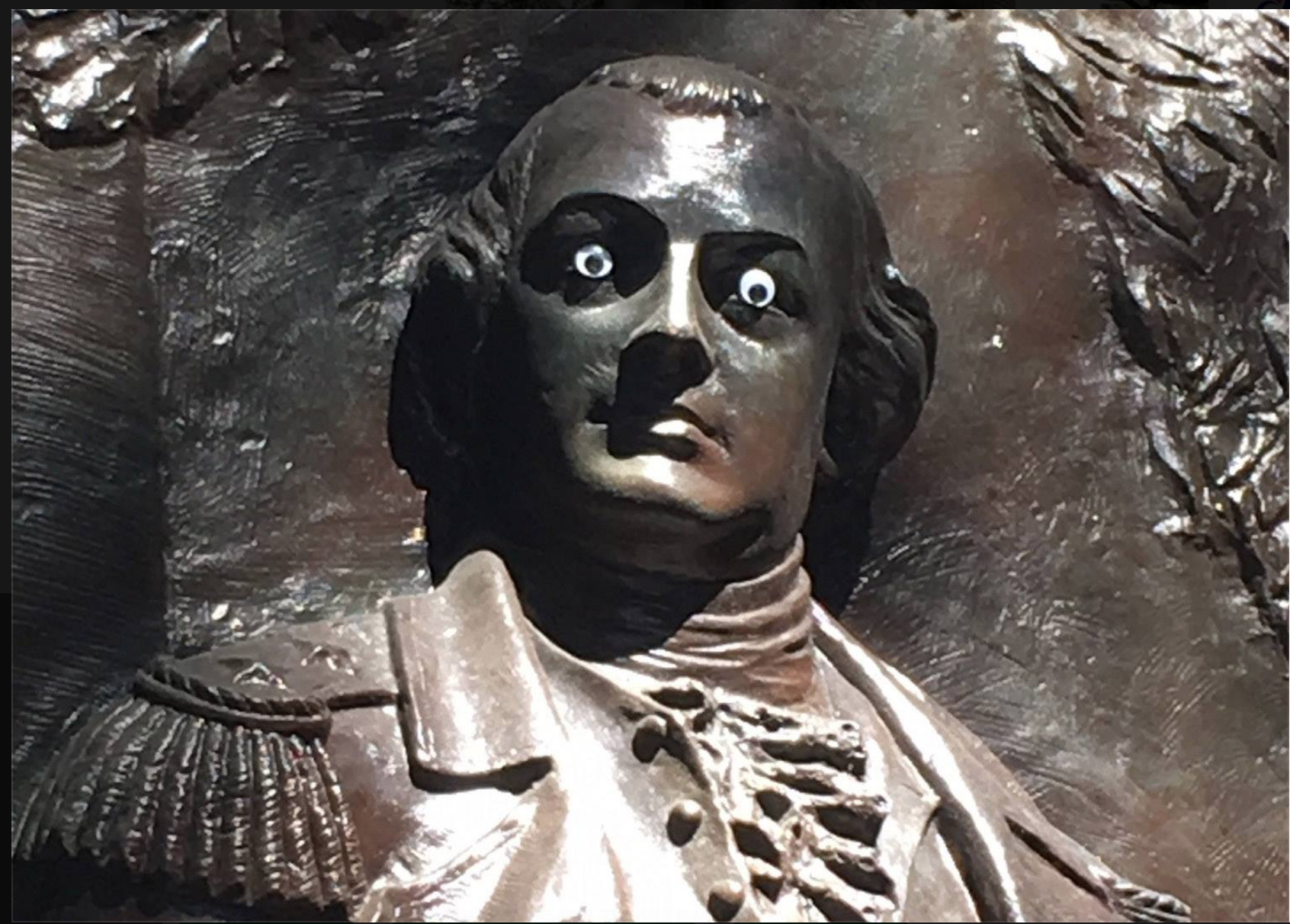 "The photo posted on October 11, 2018 by the City of Savannah Government showing ""googly eyes"" on a statue of Nathanael Greene, a Revolutionary War general."