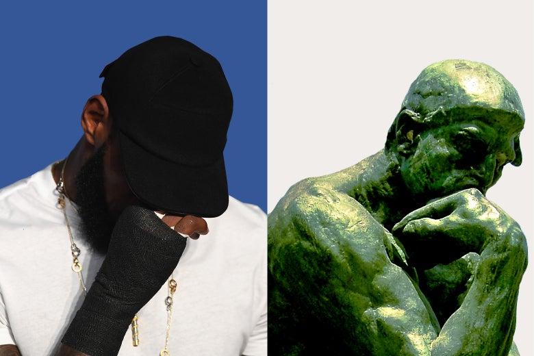 LeBron James, Rodin's The Thinker.