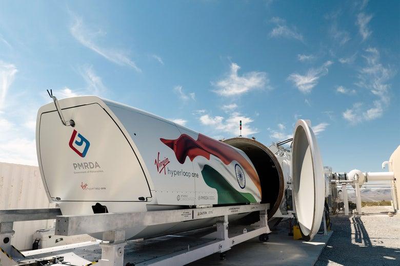 A pod from Virgin Hyperloop One.