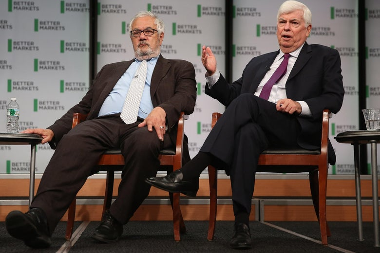 WASHINGTON, DC - JULY 20:  Former Rep. Barney Frank (D-MA) (L) and former Sen. Chris Dodd (D-CT) talk about their hallmark and namesake legislation, the Dodd-Frank Wall Street reform law, on the fifth anniversary of the law at the Newseum July 20, 2015 in Washington, DC. The event was hosted by Better Markets, a self-described nonpartisan, independent and nonprofit organization that promotes the public interest in the capital and commodity markets.  (Photo by Chip Somodevilla/Getty Images)