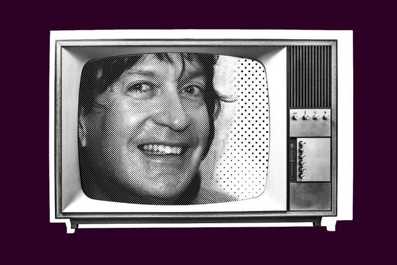 Photo illustration of Dick Richards' face on an old TV.