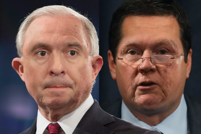 Photo illustration: Devin Nunes' face on Jeff Sessions' body and vice versa.