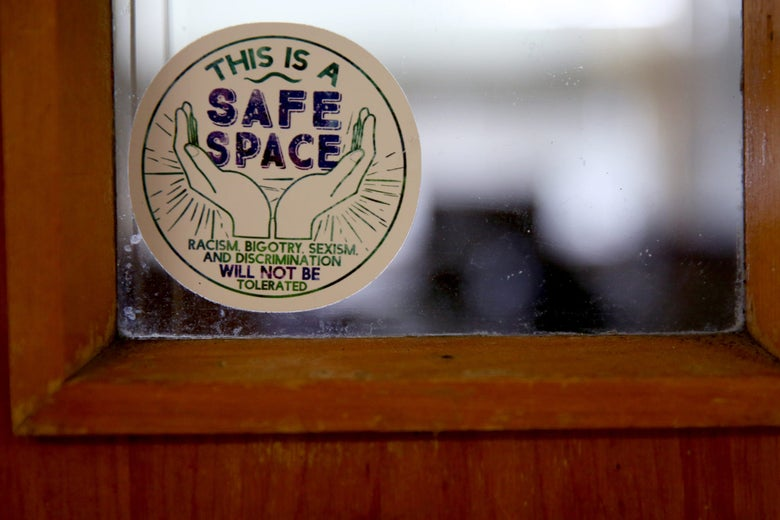"A ""safe space"" sticker on a high school classroom door on Sept. 9."
