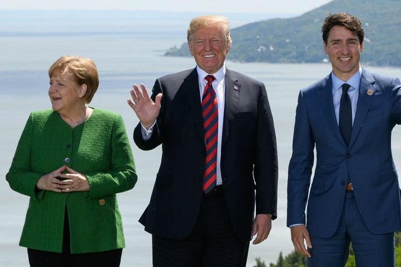 Angela Merkel, Donald Trump, and Justin Trudeau