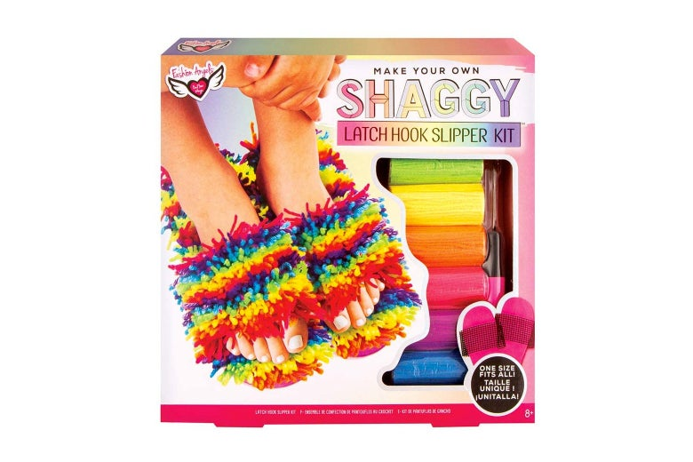 A latch hook kit to make rainbow slippers.