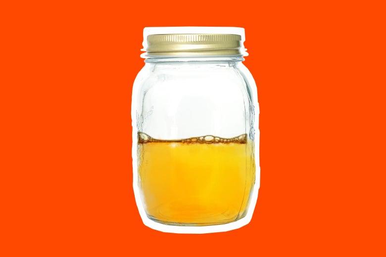 Mason jar with soap.