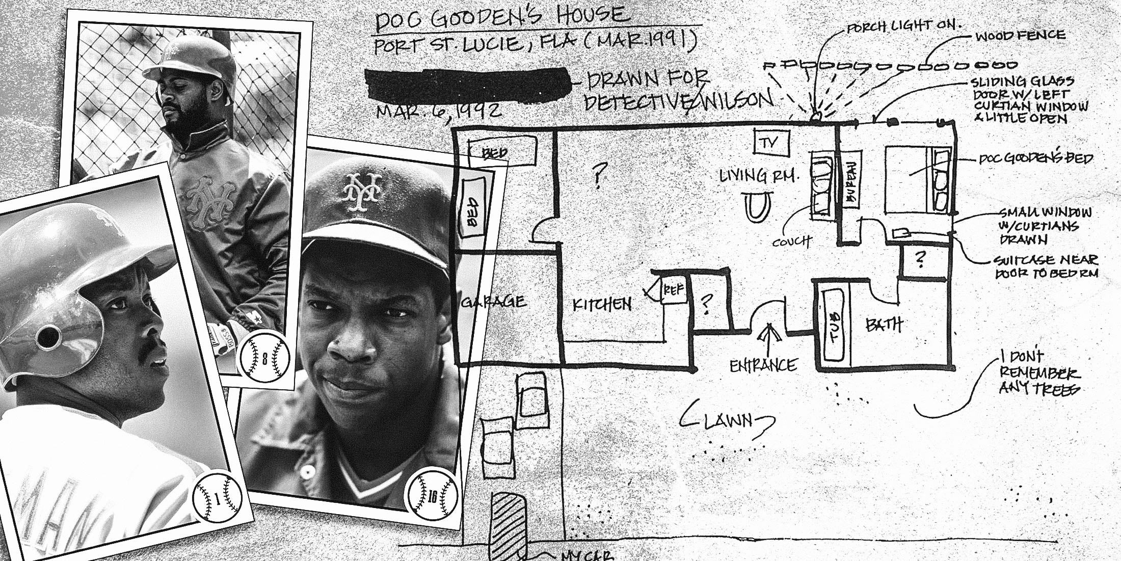 Photos of (from left) Vince Coleman, Daryl Boston, and Dwight Gooden and a sketch the accuser drew for police.