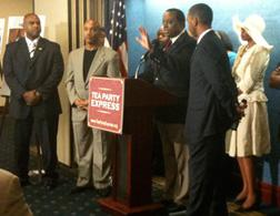 Alan Keyes and other black conservative activists at the National Press Club. Click image to expand.