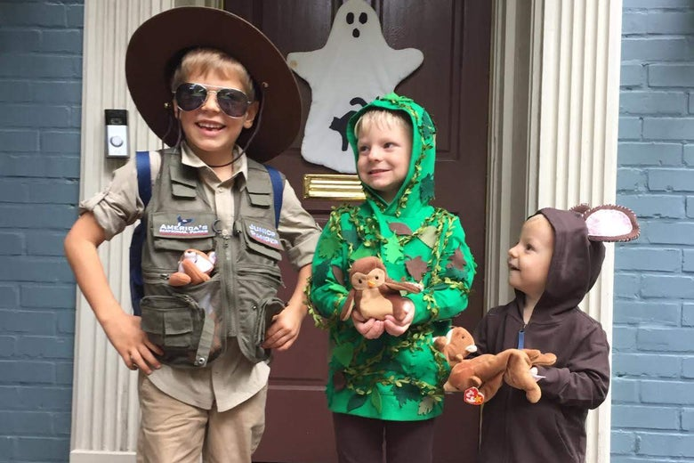 Elizabeth's sons dressed up for Halloween as a ranger, a tree, and a bear.
