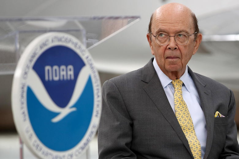 Secretary of Commerce Wilbur Ross waits to speak at the National Oceanic and Atmospheric Administration's 2019 Hurricane Season Outlook press conference May 23, 2019 in Arlington, Virginia.