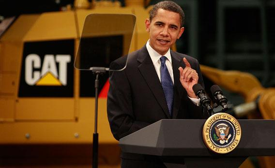 President Barack Obama speaks to workers at a Caterpillar plant about creating jobs and stimulating the economy February 12, 2009 in East Peoria, Illinois.
