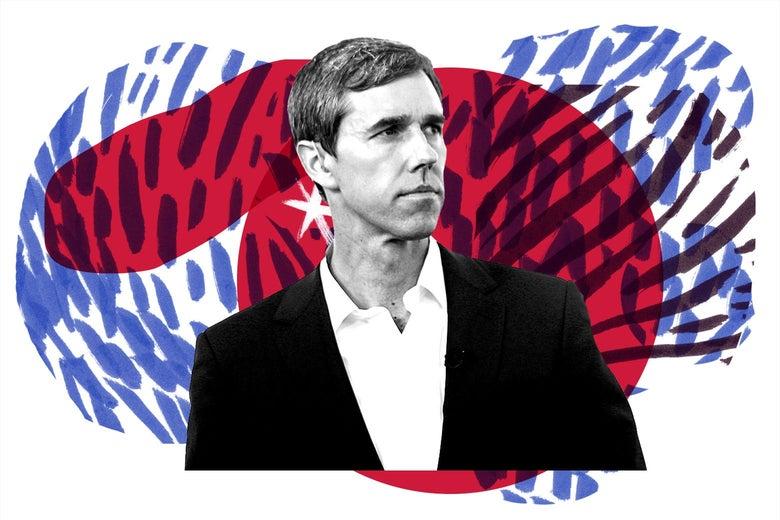 Beto O'Rourke, surrounded by red, white, and blue, insurgent