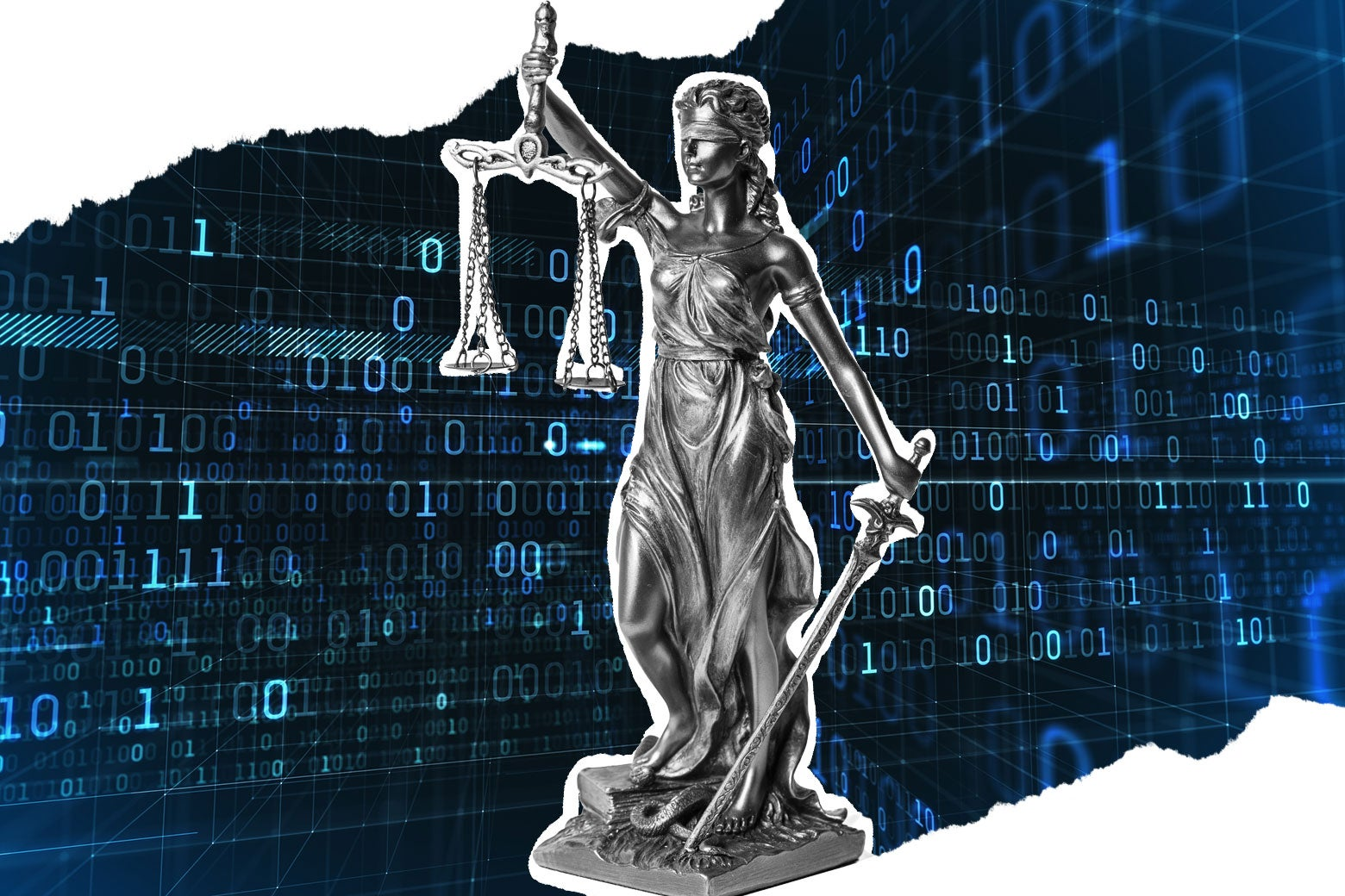 A statue of Lady Justice with strings of binary behind it.