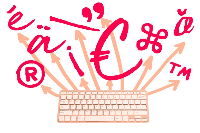 Illustration of a keyboard with symbols.