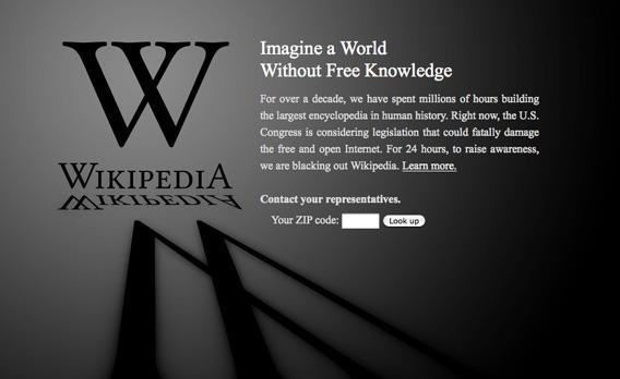 Screengrab of Wikipedia on Jan. 18, 2012.