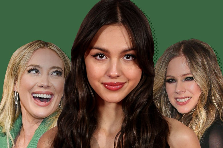 Photo collage of Olivia Rodrigo flanked by Hilary Duff and Avril Lavigne