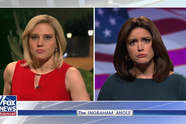 Kate McKinnon and Cecily Strong dressed as Laura Ingraham and Jeanine Pirro.