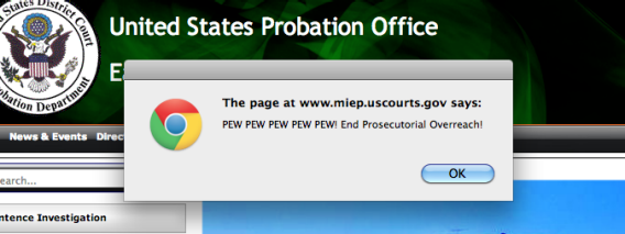 Probation Office hacked website