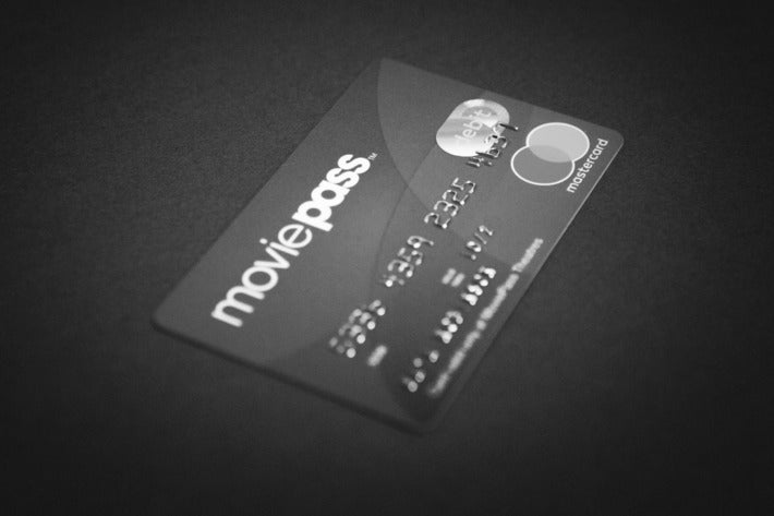 A black-and-white photo of a MoviePass card.