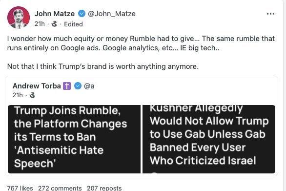 John Matze's Gab post.