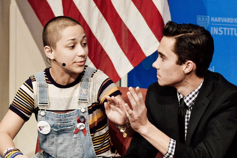 "Survivors of the Marjory Stoneman Douglas High School shooting Emma González and David Hogg speak at a panel discussion titled, ""#NEVERAGAIN: How Parkland Students Are Changing the Conversation on Guns"" at Harvard University on March 20 in Boston."