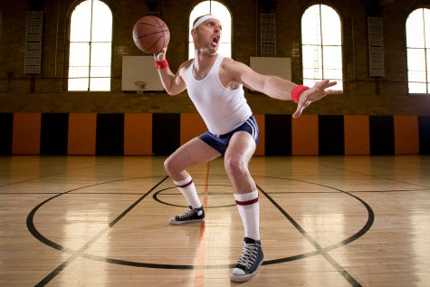 Overly confrontational amateur basketball player on the court.