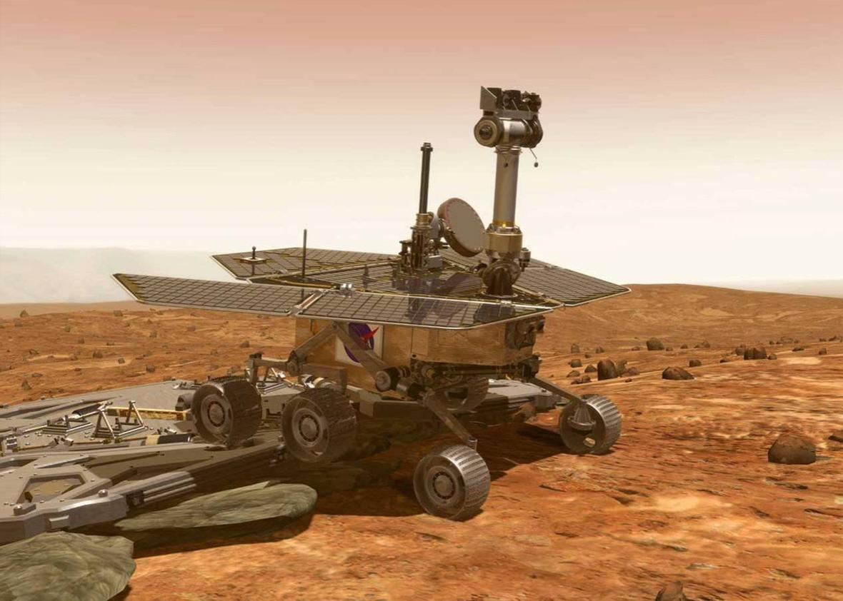 NASA artwork of Rover leaving lander